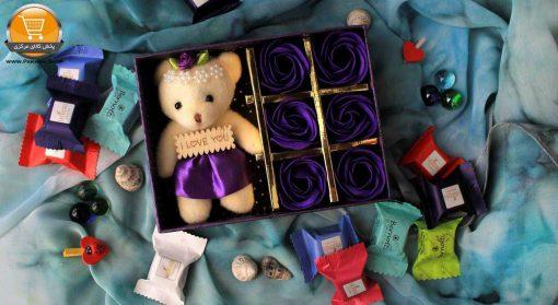 عروسک خرس مدل 04 به همراه جعبه گل پخش کالای مرکزی