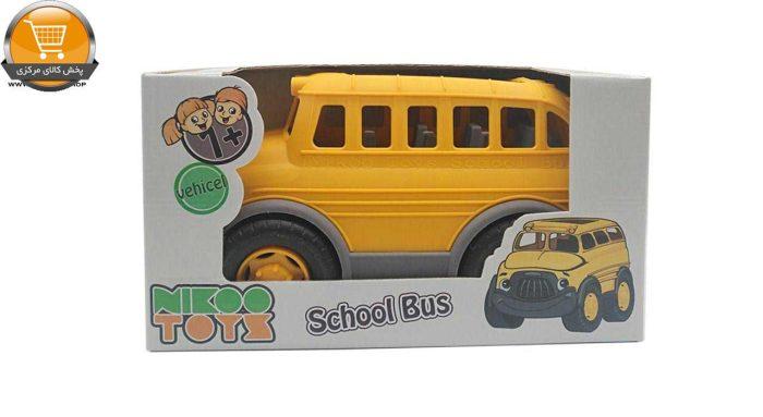 ماشین اسباب بازی کیدتونز مدل اتوبوس مدرسه بهمراه بازی فکری تانگرام پخش کالای مرکزی