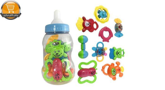 جغجغه کودک مدل شیشه شیر کد 150 مجموعه 9 عددی|پخش کالای مرکزی