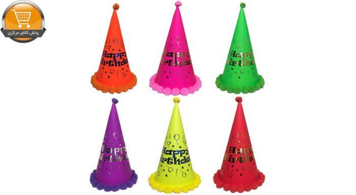 کلاه تولد مدل Black Light Happy مجموعه 6 عددی