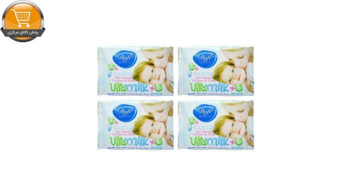 دستمال مرطوب کودک دافی مدل vita milk مجموعه 4 عددی | پخش کالای مرکزی