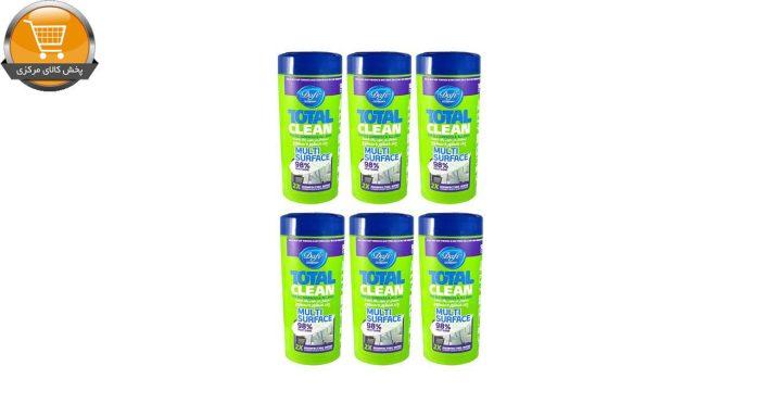 دستمال مرطوب تمیزکننده سطوح دافی مدل 6ANTIBACTERIAL مجموعه 6 عددی | پخش کالای مرکزی