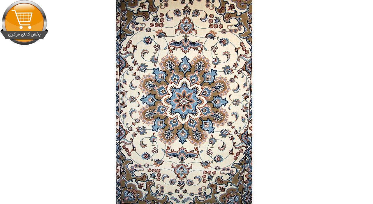 فرش ماشینی ساوین کد 2103 حاشیه آبی شتری زمینه کرم | پخش کالاي مرکزي