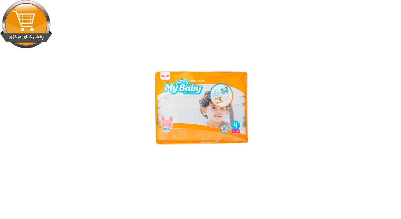پوشک بچه مای بیبی کد 01 سایز 4 بسته 34 عددی | پخش کالای مرکزی