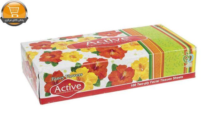 دستمال کاغذی 100 برگ اکتیو مدل Yellow Flower | پخش کالای مرکزی
