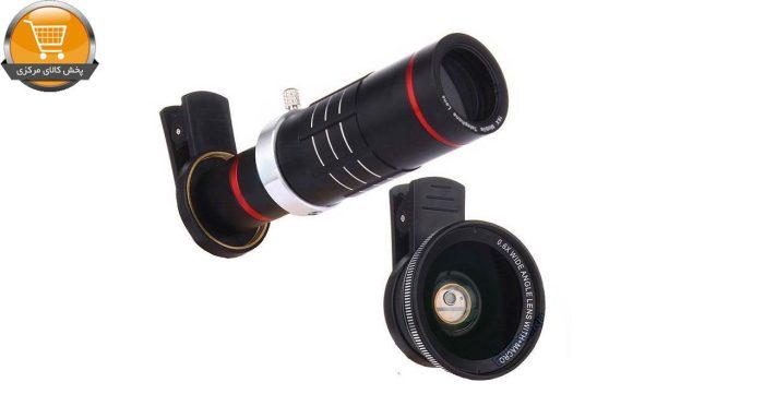 لنز کلیپسی تلسکوپی به همراه یک لنز زاویه دید گسترده مدل mobile phone lens 18x   پخش کالای مرکزی