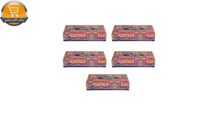 دستمال کاغذی 100 برگ اکتیو مدل Eslimi بسته 5 عددی | پخش کالای مرکزی