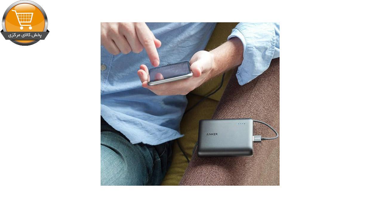 شارژر همراه انکر مدل A1214 PowerCore ظرفیت 10400 میلی آمپر ساعت به همراه کابل تبدیل USB به لایتنینگ انکر مدل A8111 PowerLine به طول 90 سانتی متر | پخش کالای مرکزی