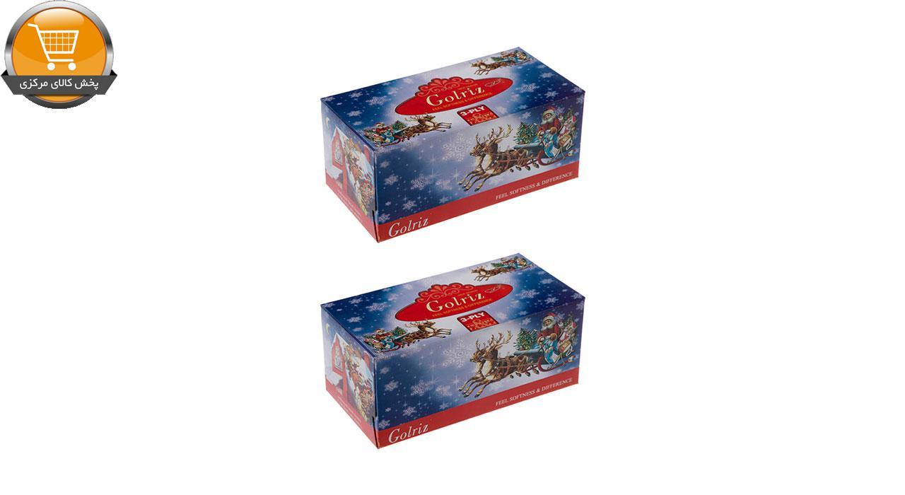 دستمال کاغذی 100 برگ گلریز مدل بابانوئل بسته 2 عددی | فروشگاه پخش کالای مرکزی