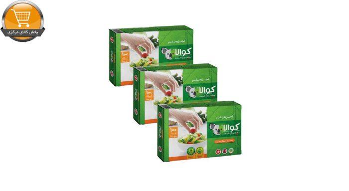 دستکش یکبار مصرف کوالا مدل آسان مصرف سه بسته 100 عددی   پخش کالای مرکزی